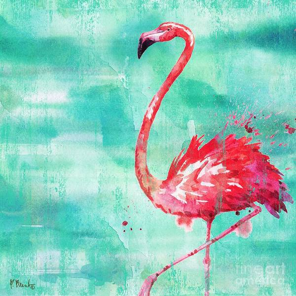 Wall Art - Painting - Arianna Flamingo II - Turquoise by Paul Brent
