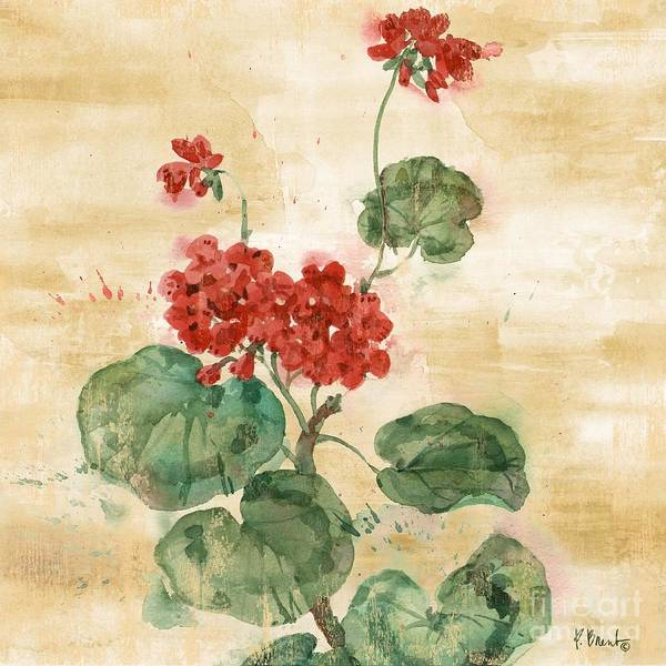 Red Geraniums Wall Art - Painting - Arianna Geraniums I by Paul Brent