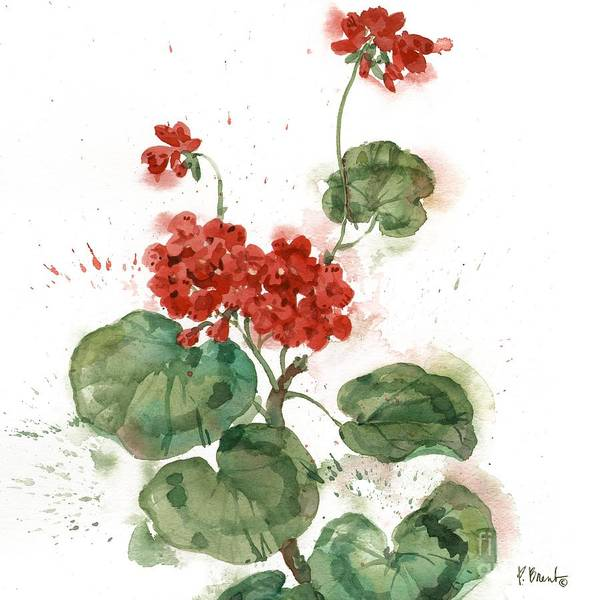 Red Geraniums Wall Art - Painting - Arianna Geraniums I - White by Paul Brent
