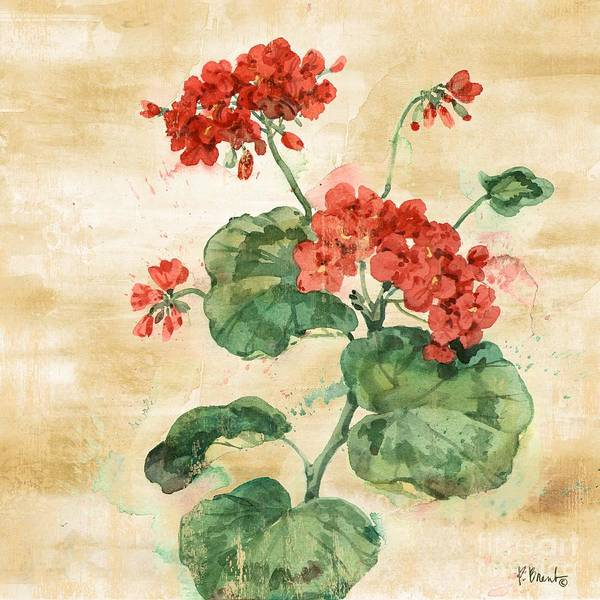Red Geraniums Wall Art - Painting - Arianna Geraniums II by Paul Brent
