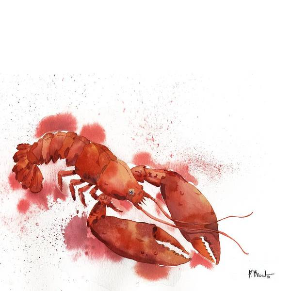 Sealife Painting - Arianna Lobster - White by Paul Brent