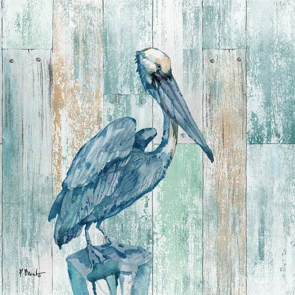 Pelican Wall Art - Painting - Arianna Pelican - Wood by Paul Brent