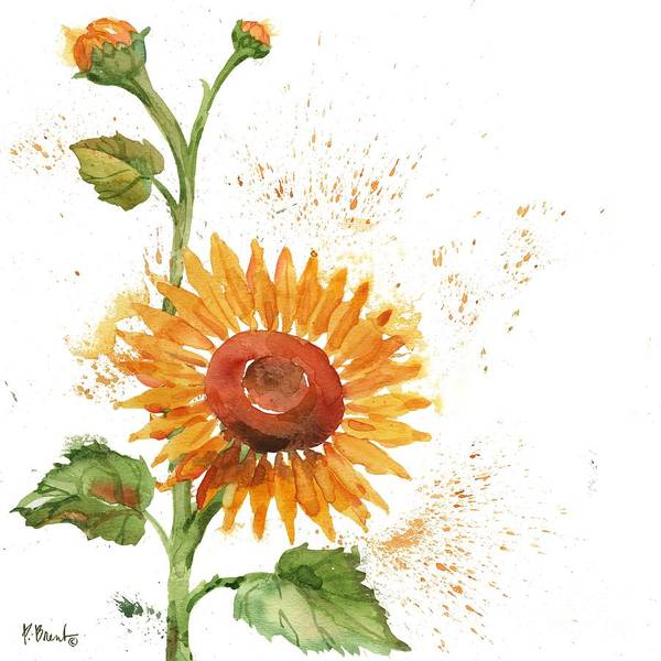 Wall Art - Painting - Arianna Sunflowers I - White by Paul Brent