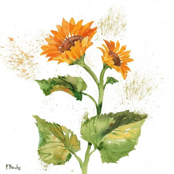 Wall Art - Painting - Arianna Sunflowers II - White by Paul Brent