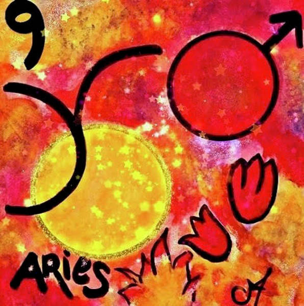 Note Book Painting - Aries Sun Sign by Carol Stanley