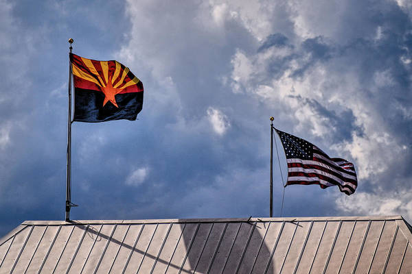 Photograph - Arizona And Us Flags by Chance Kafka