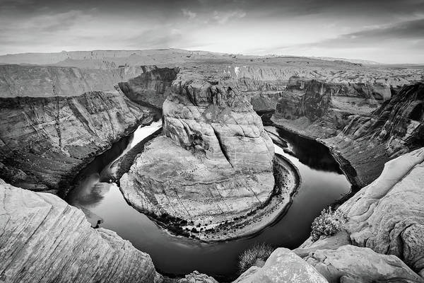 Photograph - Arizona Horseshoe Bend Morning In Monochrome by Gregory Ballos