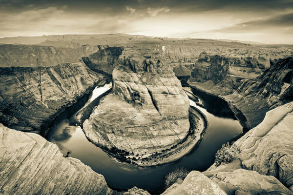 Photograph - Arizona Horseshoe Bend Morning In Sepia by Gregory Ballos