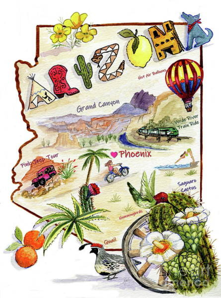 Painting - Arizona Memories Map by Marilyn Smith
