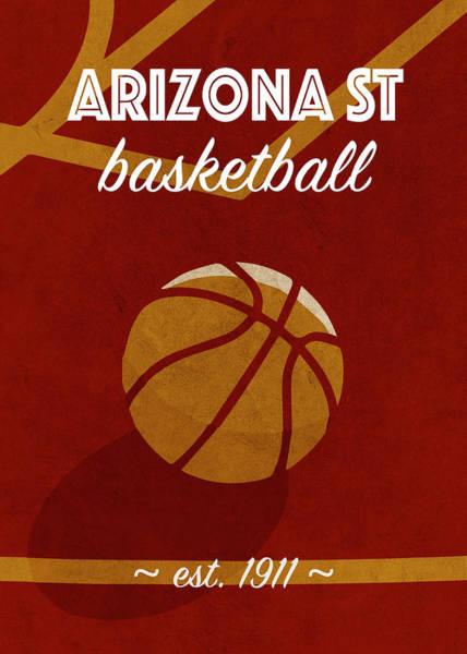 St Mixed Media - Arizona St University Retro College Basketball Team Poster by Design Turnpike