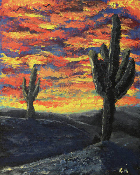 Valley Of Fire Painting - Arizona Sunset Impression by Chance Kafka