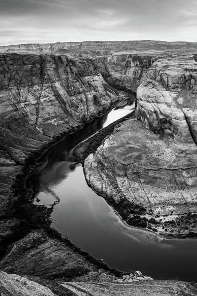 Photograph - Arizona's Horseshoe Bend River Landscape In Black And White by Gregory Ballos