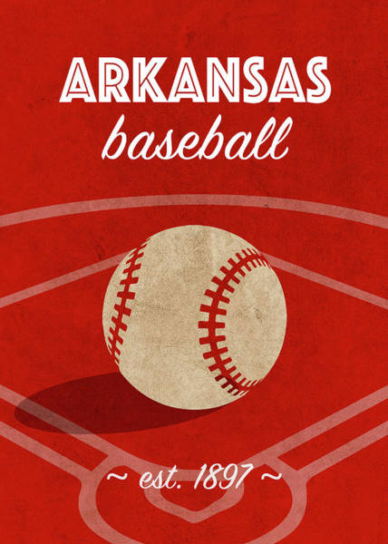 Wall Art - Mixed Media - Arkansas Baseball College Sports Team Retro Vintage Poster Series by Design Turnpike
