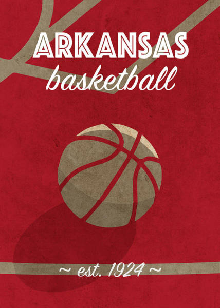 Arkansas Mixed Media - Arkansas Basketball Retro College Poster by Design Turnpike