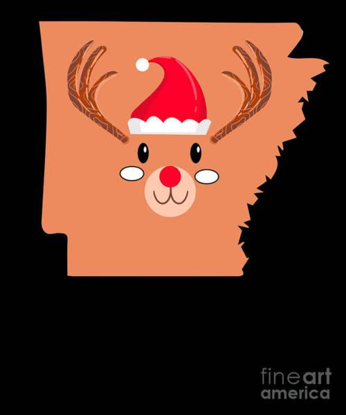 Ugly Digital Art - Arkansas Christmas Hat Antler Red Nose Reindeer by TeeQueen2603