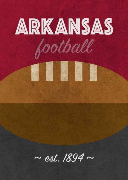 Arkansas Mixed Media - Arkansas College Football Team Vintage Retro Poster by Design Turnpike