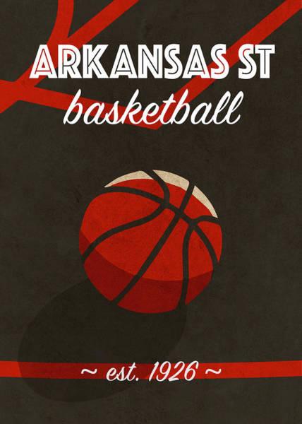St Mixed Media - Arkansas St University Retro College Basketball Team Poster by Design Turnpike