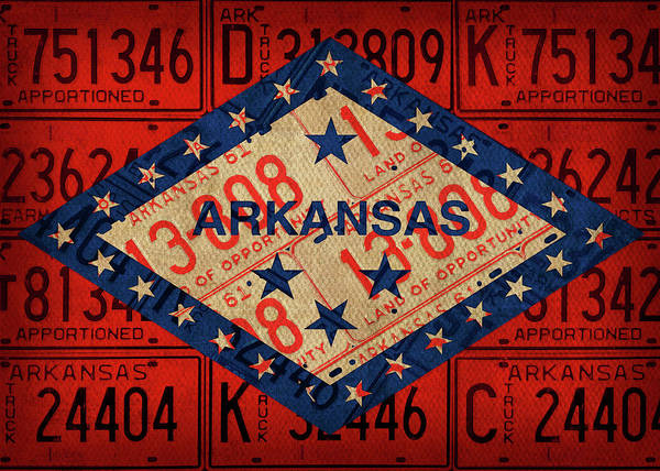 Wall Art - Mixed Media - Arkansas State Flag Vintage License Plate Art by Design Turnpike
