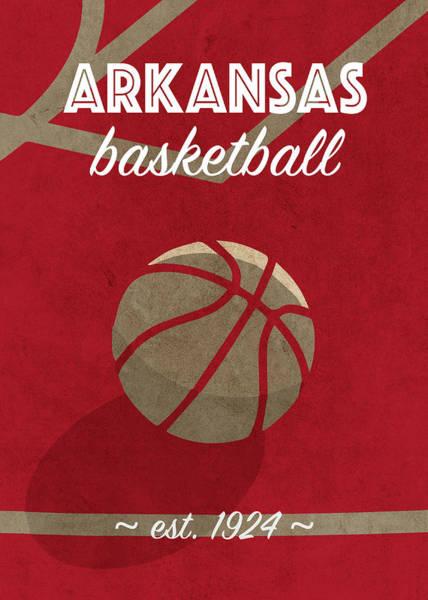 Arkansas Mixed Media - Arkansas University Retro College Basketball Team Poster by Design Turnpike