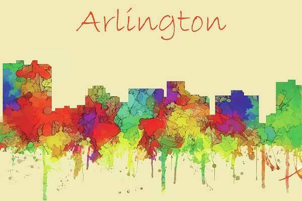 Wall Art - Digital Art - Arlington City Skyline Watercolor by Marlene Watson