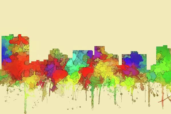 Wall Art - Digital Art - Arlington City Skyline Watercolor2 by Marlene Watson