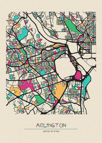 Orange County Digital Art - Arlington County, Virginia City Map by Inspirowl Design
