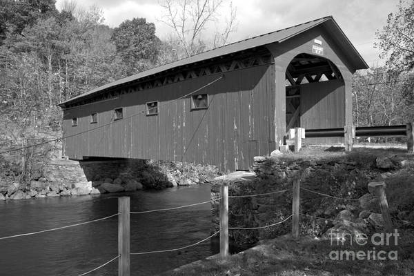 Photograph - Arlington Green Covered Bridge Black And White by Adam Jewell
