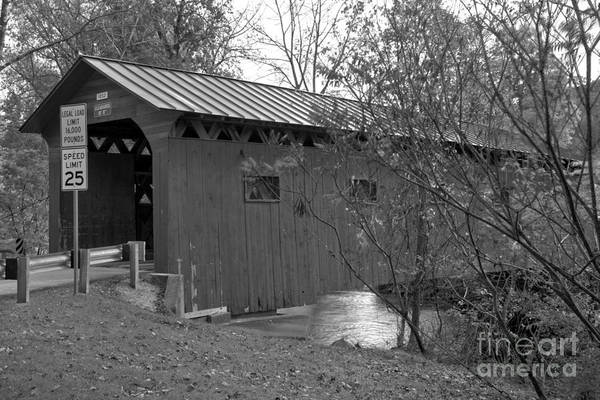 Photograph - Arlington Green Covered Bridge Lush Landscape Black And White by Adam Jewell