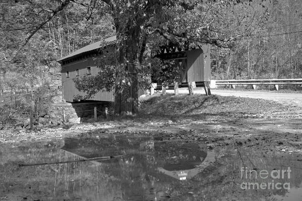 Photograph - Arlington Green Covered Bridge Reflections Black And White by Adam Jewell