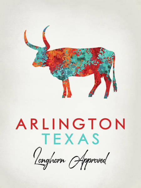 Longhorn Digital Art - Arlington Texas Colorful Longhorn by Flo Karp