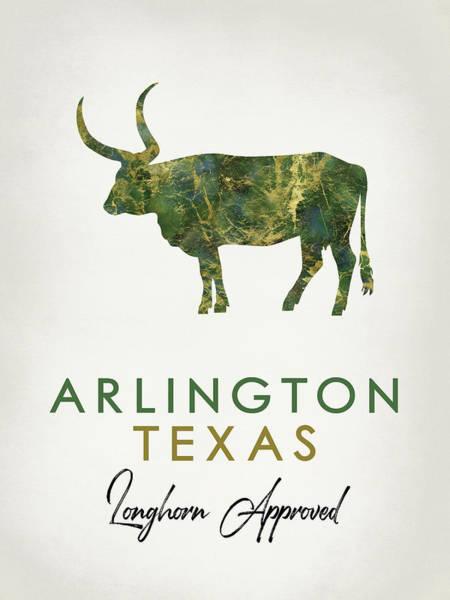 Longhorn Digital Art - Arlington Texas Dark Marble by Flo Karp