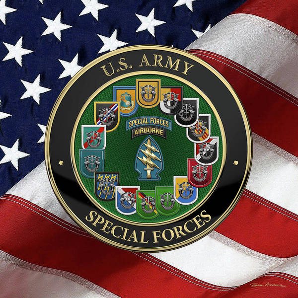 Digital Art - Army Special Forces  -  S F  Patch With  S F  Groups Flashes Over American Flag by Serge Averbukh