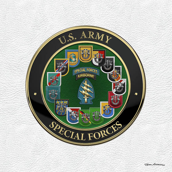 Digital Art - Army Special Forces  -  S F  Patch With  S F  Groups Flashes Over White Leather by Serge Averbukh