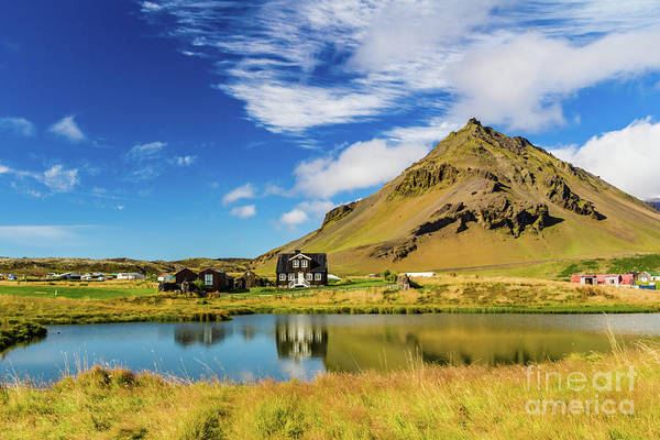 Photograph - Arnarstapi Amtmansshus And Mount Stapafell, Iceland by Lyl Dil Creations
