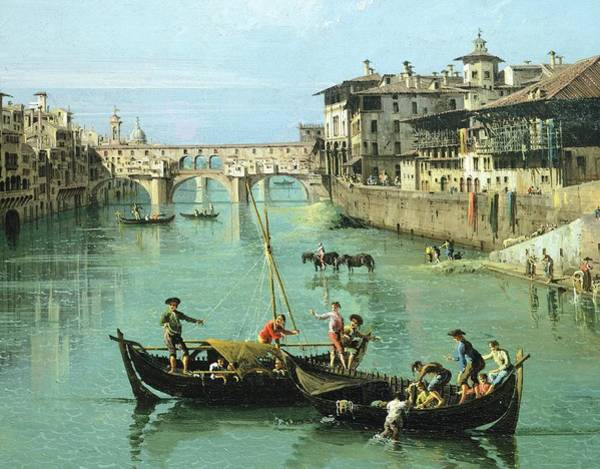Wall Art - Painting - Arno River And Ponte Vecchio In Florence, 1742, By Canaletto by Canaletto