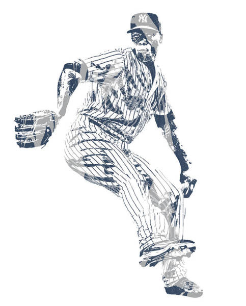 Wall Art - Mixed Media - Aroldis Chapman New York Yankees Pixel Art 10 by Joe Hamilton