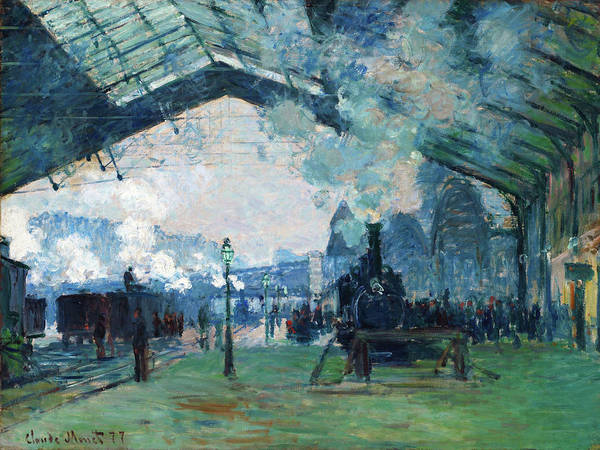 Lazare Painting - Arrival Of The Normandy Train, Gare Saint-lazare - Digital Remastered Edition by Claude Monet