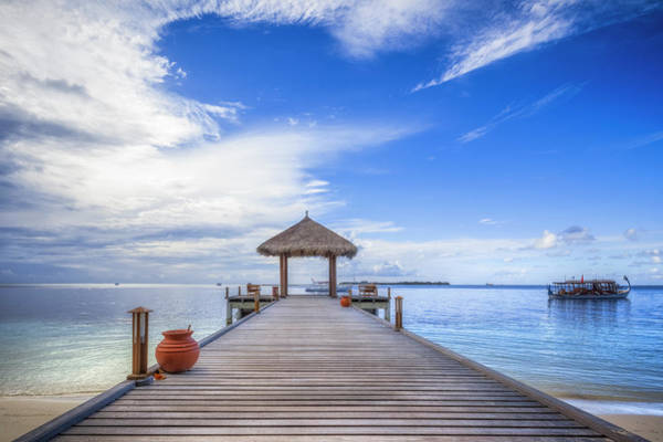 Palapa Wall Art - Photograph - Arrival On Maldives by Cinoby