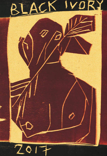 Relief - Arrow Man Black Ivory Woodcut 26 by Artist Dot