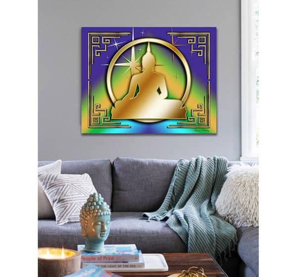 Digital Art - Art Deco Buddha - Stars - On Wall by Chuck Staley