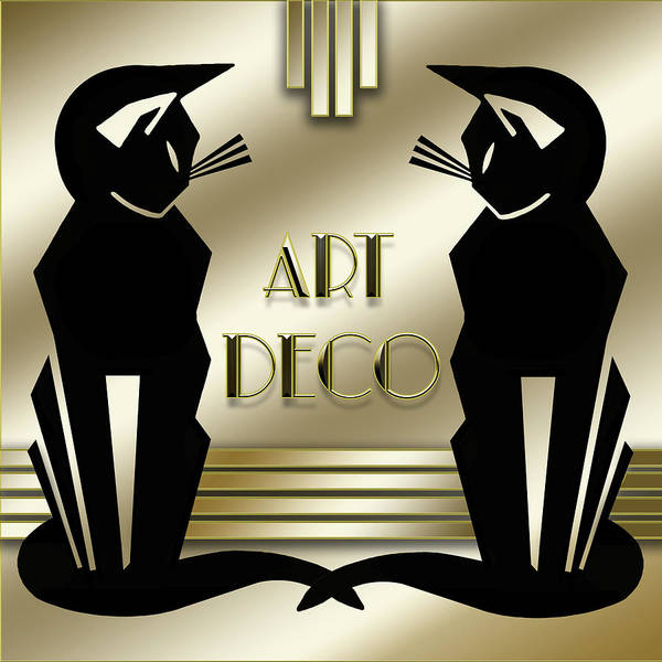 Digital Art - Art Deco Cats by Chuck Staley