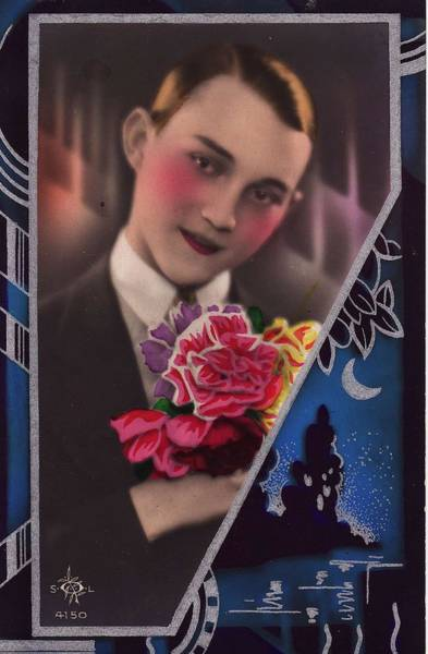 Postmark Painting - Art Deco French Postcards 6 by Celestial Images