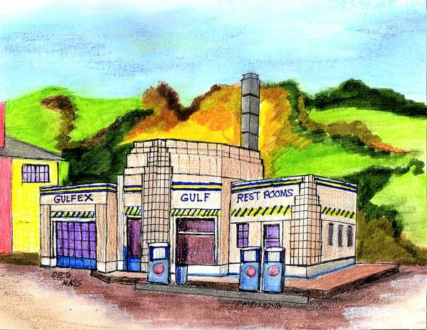 Gas Station Drawing - Art Deco Service Station by Paul Meinerth