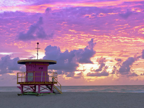 Florida Photograph - Art Deco Style Lifeguard Station At by Cosmo Condina
