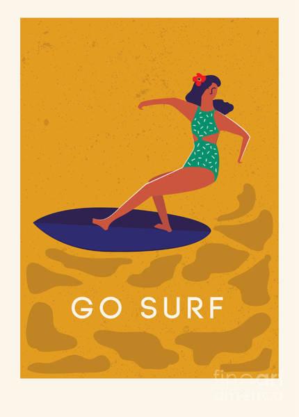 Wall Art - Digital Art - Art Deco Surf Poster In Vector. Summer by Nicetoseeya