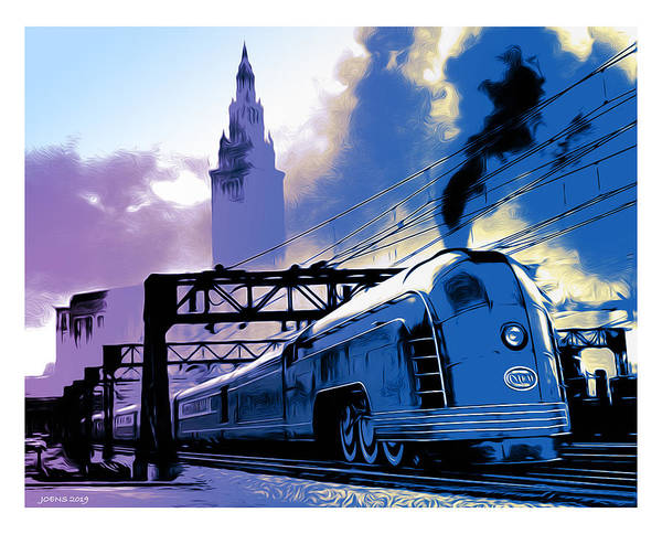 Trains Digital Art - Art Deco Train by Greg Joens