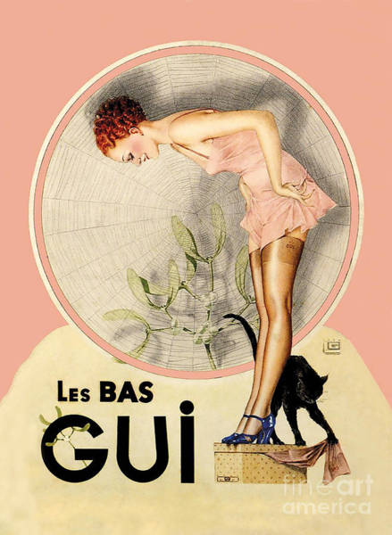 Wall Art - Painting - Art Deco Vintage French Fashion Hosiery Company by Tina Lavoie
