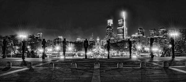 Wall Art - Photograph - Art Museum View Of Parkway At Night In Black And White by Bill Cannon