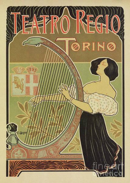 Drawing - Art Nouveau Royal Opera House Turin Torino by Aapshop