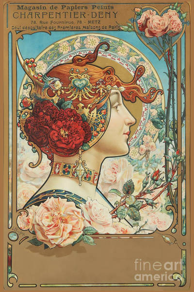 Wall Art - Painting - Art Nouveau Woman French Art Supply Store Advertisement by Tina Lavoie